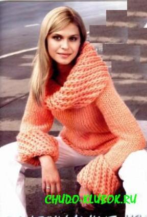 свитер спицами с большим воротом