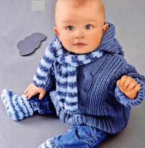 Пальтишко с капюшоном синего цвета 5