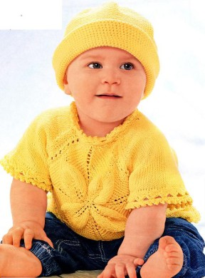 Пуловер с мотивом из листьев и шляпка 49