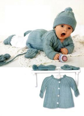 Теплый комплект: жакет, шапочка, варежки и носочки 8