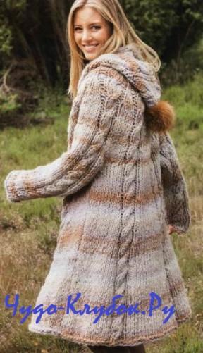 пальто с капюшоном спицами