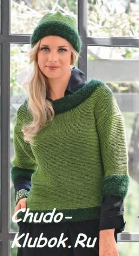 Пуловер и шапка в зеленых тонах