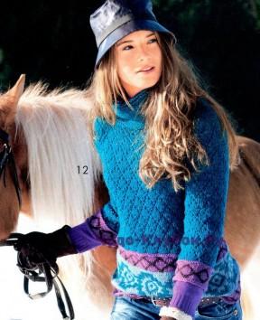 163 Пуловер с жаккардовыми планками