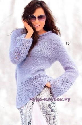155 Пуловер с ажурными бордюрами