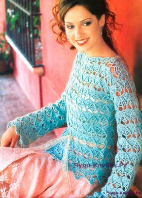 138 Пуловер ажурный