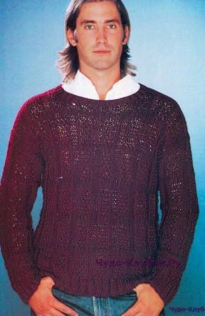 16 Бордовый пуловер