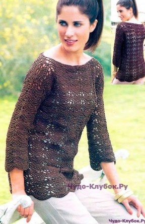 136 Пуловер коричневый