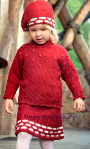 Комплект для девочки бордового цвета с белой тесьмой-резинкой 6