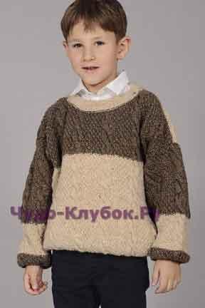 Пуловер для мальчика в бежевом и коричневом цветах 30