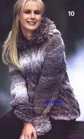 43 Меланжевый пуловер с капюшоном