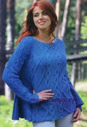 385 Пуловер с рельефными узорами
