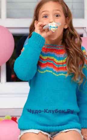 Пуловер с разноцветными зигзагами 19