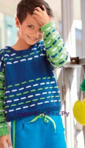 Пуловер в сине-зеленых тонах 20