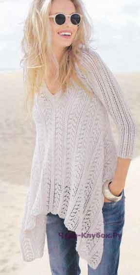 495 Пуловер с асимметричным краем