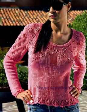 466 Пуловер с ажурной кокеткой и рукавами