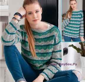 497 Пуловер в зеленых тонах