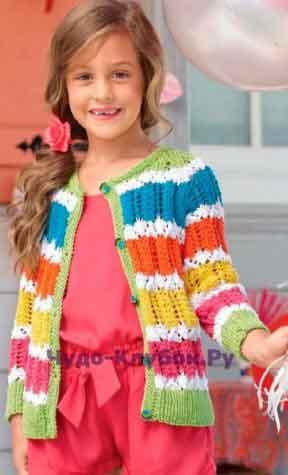 Кофточка с разноцветными полосками 6