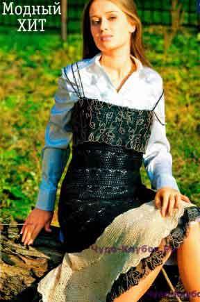254 Черный сарафан с кружевом