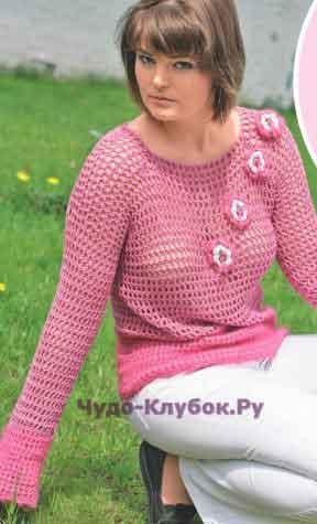 594 Джемпер с вязаными цветами