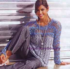 635 Двухцветный пуловер