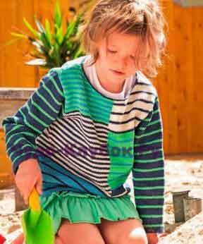 Детский пуловер в полоску 11