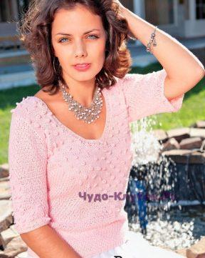 678 Нежно-розовый пуловер