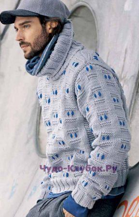 70 Пуловер с рельефным узором