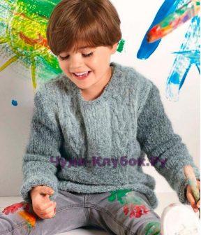 Детский пуловер с косами 3