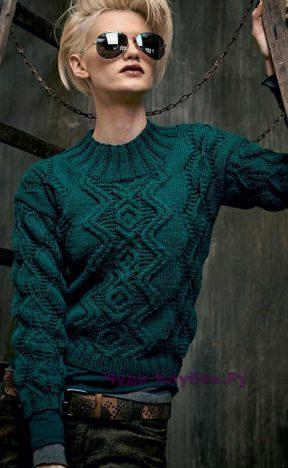 813 Пуловер с узором из листьев