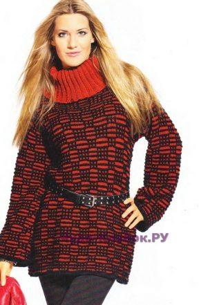 851 Двухцветный пуловер