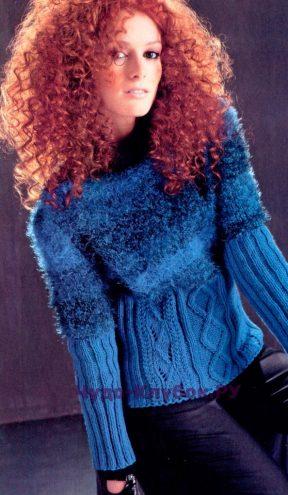 887 Пуловер с пушистым верхом