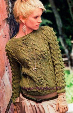 923 Пуловер с рельефными узорами