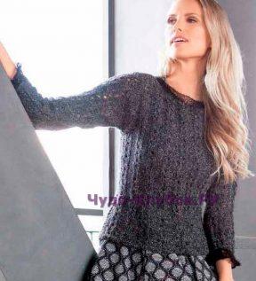 984 Серебристо-черный пуловер