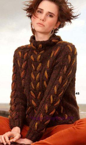 1016 Пуловер с фитильной пряжей