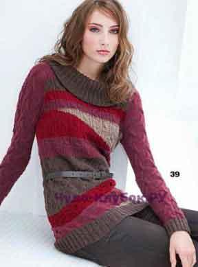 1032 Пуловер красных оттенков