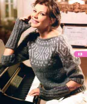 1049 Пуловер  и митенки