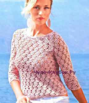 Ажурный пуловер реглан 1127