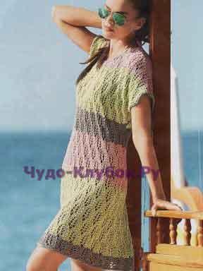 Ажурное платье в полоску 580