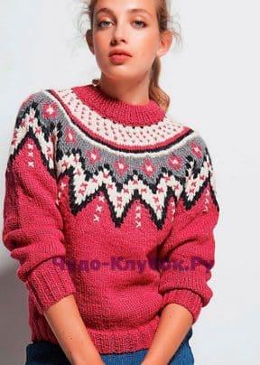 Пуловер с кокеткой с жаккардовым узором 1518