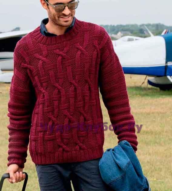 Пуловер с крупным рельефным узором 138