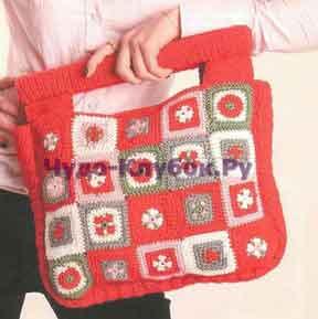 Красная сумка с цветными квадратами 103