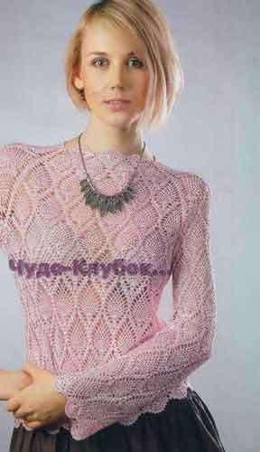 """Розовый пуловер с узором """"Ананасы"""" 1703"""