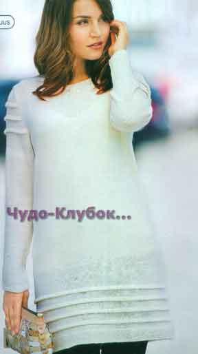 Белое платье с оборками 679