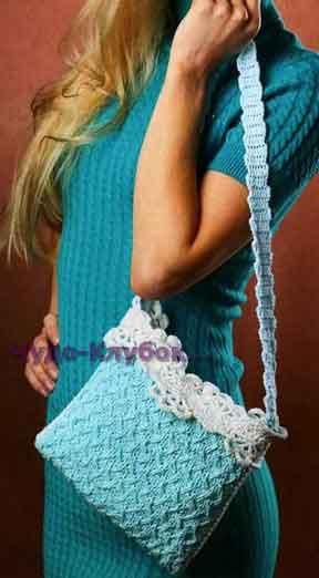 Голубая сумочка с ажурной лентой 113