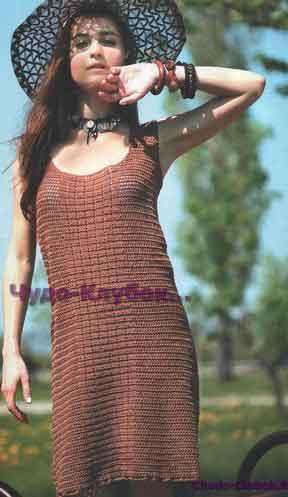 Коричневое ажурное платье 673