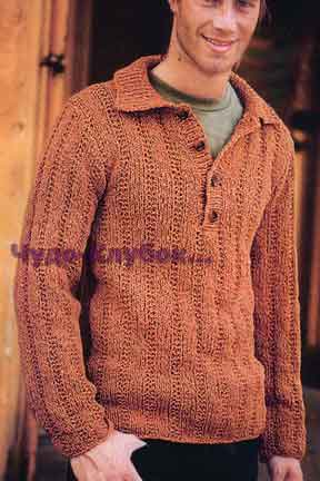 Мужской пуловер с воротником 164