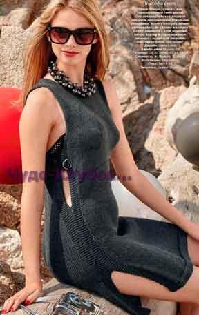 Платье-туника с боковыми разрезами, которые можно регулировать 700