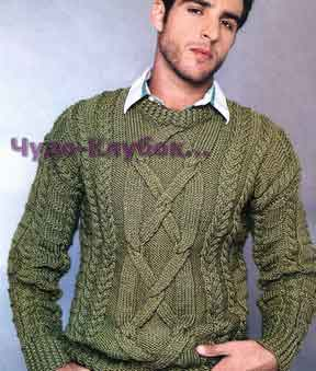 Пуловер оливкового цвета 166