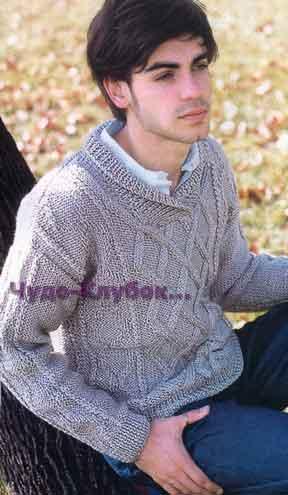 Пуловер с воротником шалька 169