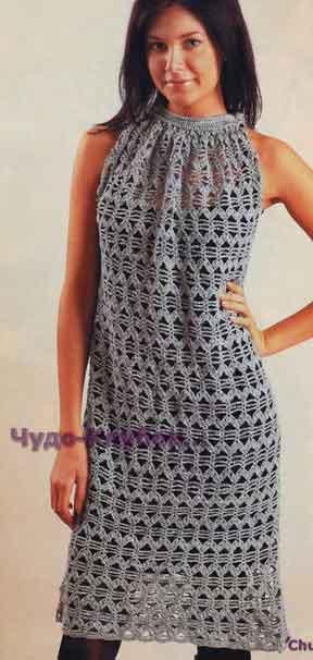 Ажурное платье с американской проймой 710